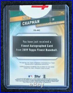 19 Topps Finest Matt Chapman Redemption Encased Autograph Red Refractor Auto 1/5