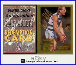 1994 Dynamic AFL Players Choice Series Signature Card PC1 Gary Ablett+Redemption