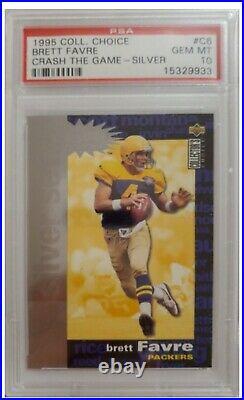 1995 Collectors Choice Brett Favre CRASH THE GAME SILVER card #C6 graded PSA 10