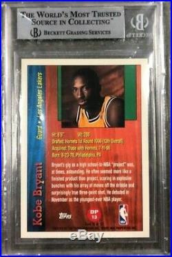1996 Kobe Bryant Topps Draft Redemption #dp13 Rookie (rc) Bgs 9 Lakers Hof