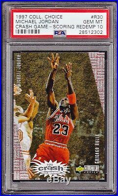 1997 Collector's Choice Crash-game Redemption Michael Jordan Psa Gem 10 Foil