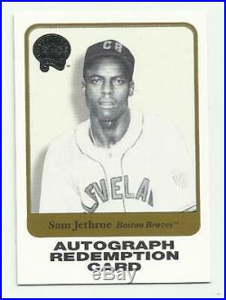 2001 Fleer Greats Of The Game Sam Jethroe Autograph Redemption Card! Rare