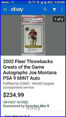 2002 Fleer Throwbacks Greats of the Game Joe Montana BGS 9/10 on card Auto