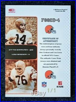 2007 Certified Lou Groza Otto Graham 2x Game Worn Jersey Patch HOF Legends #1/1