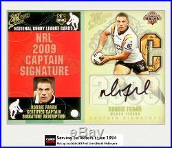 2009 Select NRL Classic Captain Signature Redemption Cards CS21 R. FARAH-RARE