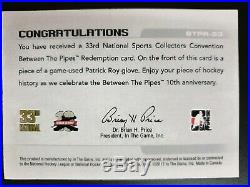 2012 Between the Pipes Redemption Game Used Glove BTPR-53 Patrick Roy #ed/10