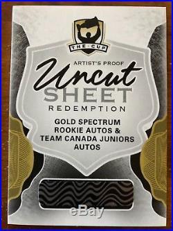 2016-17 Ud The Cup Uncut Sheet Redemption Gold Spectrum Rookie Autos