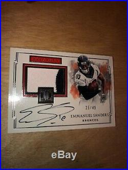 2017 Impeccable EMMANUEL SANDERS PATCH AUTO GAME USED 2 COLORS /49 WOW