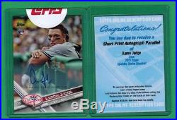 2017 Topps Update Aaron Judge Auto Short Print Rc Uncirculated W Used Redemption