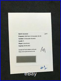 2018-19 Immaculate Moments Luka Doncic Auto /99 Acetate RC Redemption Mavs ROY
