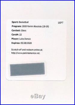 2018-19 Panini Absolute #22 LUKA DONCIC GLASS Mavericks Redemption CASE HIT