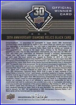 2018-19 Upper Deck 30th Anniversary Diamond Relics Black Redemption Draft 1/1