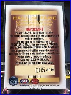 2018 AFL Select Legacy TONY LOCKETT LEGEND SIGNATURE REDEMPTION 005/110 LGSR18
