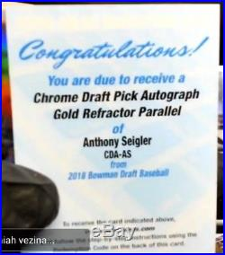 2018 Anthony Seigler Bowman Draft Redemption Auto Autograph Gold Refractor #/50