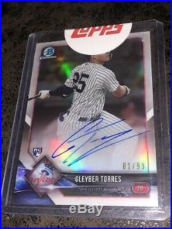 2018 Bowman Chrome Lucky Redemption Refractor Gleyber Torres RC AUTO Rookie Card