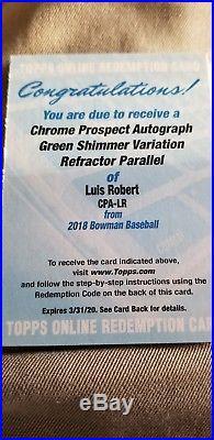 2018 Bowman Chrome Luis Robert RC Auto Green Shimmer 99 Redemption White Sox