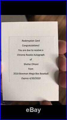 2018 Bowman Chrome Shohei Ohtani Rookie Auto. Mega Box Redemption eBay 1/1