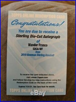 2018 Bowman Sterling Die-cut Autograph Wander Franco Auto Rc Rookie Redemption