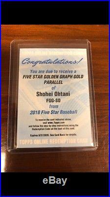 2018 Five Star Shohei Ohtani #FFG-SO RC Golden Graphs GOLD Redemption Auto /10