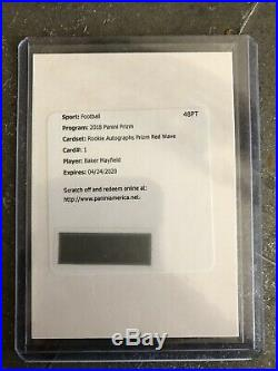 2018 Panini Prizm Baker Mayfield Rookie RC Auto Red Wave Prizm SSP Redemption