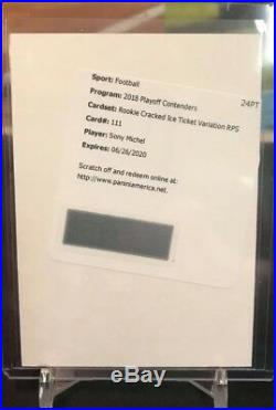 2018 Sony Michel Contenders Rc Cracked Ice Ticket Variation Auto Redemption /24
