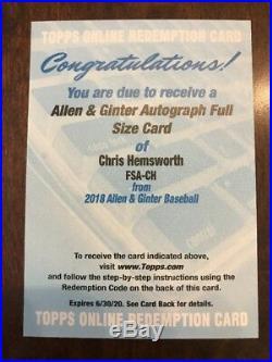 2018 Topps Allen & Ginter Chris Hemsworth Full Size Autograph Redemption THOR
