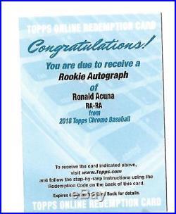 2018 Topps Chrome Ronald Acuna Auto Rookie Redemption #RA-RA (Braves) Gem 10