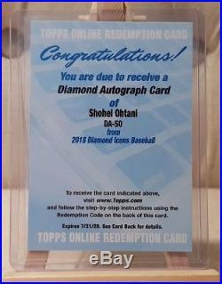 2018 Topps Diamond Icons Shohei Ohtani ROOKIE Diamond Auto Card Redemption /25
