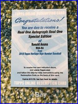 2018 Topps Heritage High Number Real One Ronald Acuna Auto Redemption Red Ink