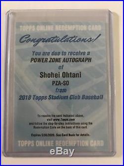 2018 Topps Stadium Club Angels Shohei Ohtani Powerzone Auto Unused Redemption