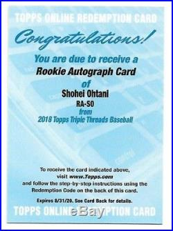 2018 Topps Triple Threads Shohei Ohtani 99 Rookie Autograph Redemption AL ROTY