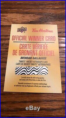 2019-20 Upper Deck Tim Horton's Brendan Gallagher Timbits Autograph Redemption