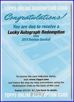 2019 Bowman Chrome Auto Lucky Autograph Redemption Ssp Wander Franco Bart Tatis