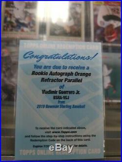 2019 Bowman Sterling Vladimir Guerrero Jr Orange Refractor Parallel Redemption