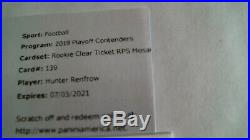 2019 Contenders Hunter Renfrow Rookie Clear Ticket Mosaic Auto 1/1 Message Code