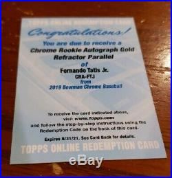 2019 Fernando Tatis Jr Bowman Chrome Rc Auto Gold Redemption /50