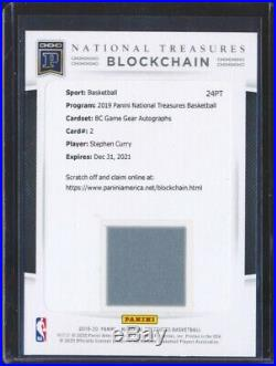 2019 National Treasures Stephen Curry Game Gear Auto Autograph Redemption /25