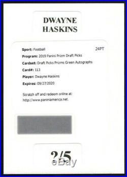 2019 Panini Prizm #113 Green Refractor Dwayne Haskins Rc Sp Auto /5 Redskins Osu