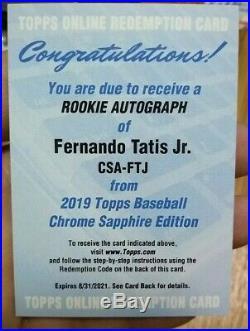 2019 Topps Chrome Sapphire FERNANDO TATIS JR. Rookie Auto Redemption Padres RC
