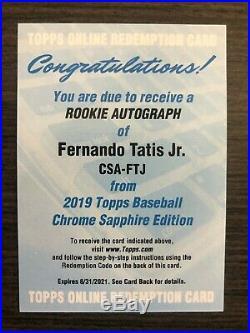2019 Topps Chrome Sapphire Fernando Tatis Jr Auto Unused Redemption Padres