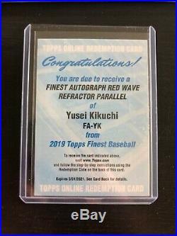 2019 Topps Finest Yusei Kikuchi Rookie red wave Refractor Auto #d/5 Redemption