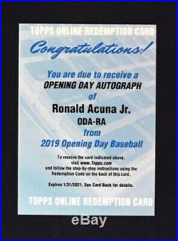 2019 Topps Opening Day Redemption Auto #ODA-RA Ronald Acuna Jr