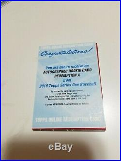 2019 Topps Series 1 One Autographed Rookie Redemption A AUTOGRAPH AUTO UNUSED