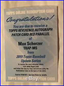 2019 Topps Update Max Scherzer Reverence Auto Patch Red Parallel /5 Redemption