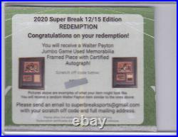 2020 Super Break Jumbo Game Used Mem Certified Auto WALTER PAYTON Redemption