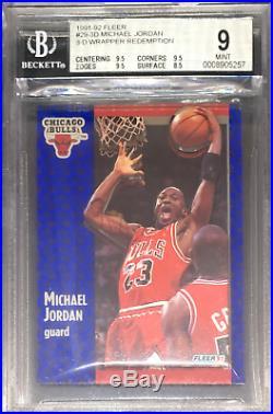 BGS 9 with9.5 MICHAEL JORDAN 1991-92 Fleer 3D Acrylic Wrapper Redemption #29 MINT