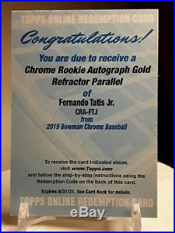 Fernando Tatis Jr RC 2019 Bowman Chrome Rookie Auto Gold Refractor Redemption