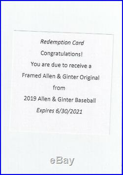 Framed Buyback Original 1/1 Redemption 2019 Topps Allen and Ginter 137 Cases