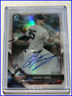 Gleyber Torres Rookie Auto, Bowman Lucky Redemption Auto /99, Ny Yankees