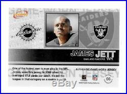 James Jett Raiders 2002 Atomic Game Worn Jerseys #66 Print Run 287